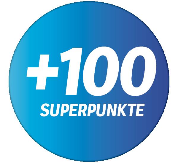 +100 Superpunkte auf Ihren Einkaufsbetrag mit der Supercard ab einem Einkauf von CHF 10.-