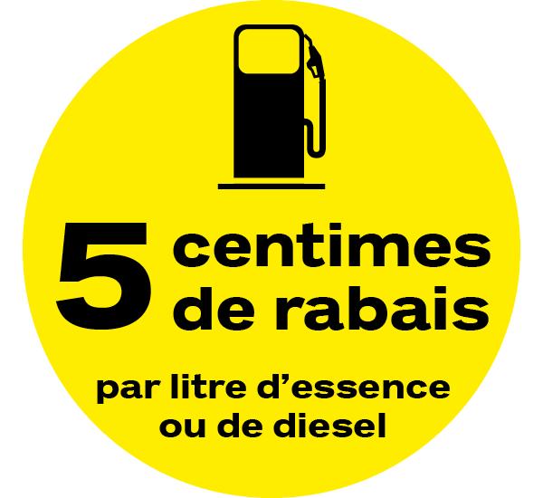Profitez d'un rabais de 5 cts par litre d'essence/de diesel.