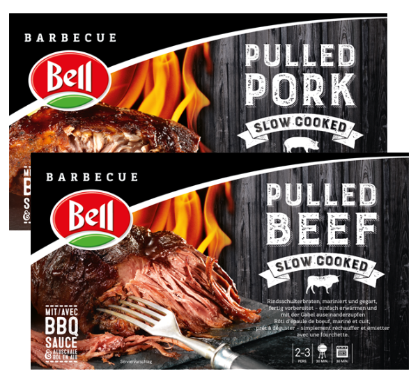 auf Bell Pulled Beef 620g + Bell Pulled Porc 620g